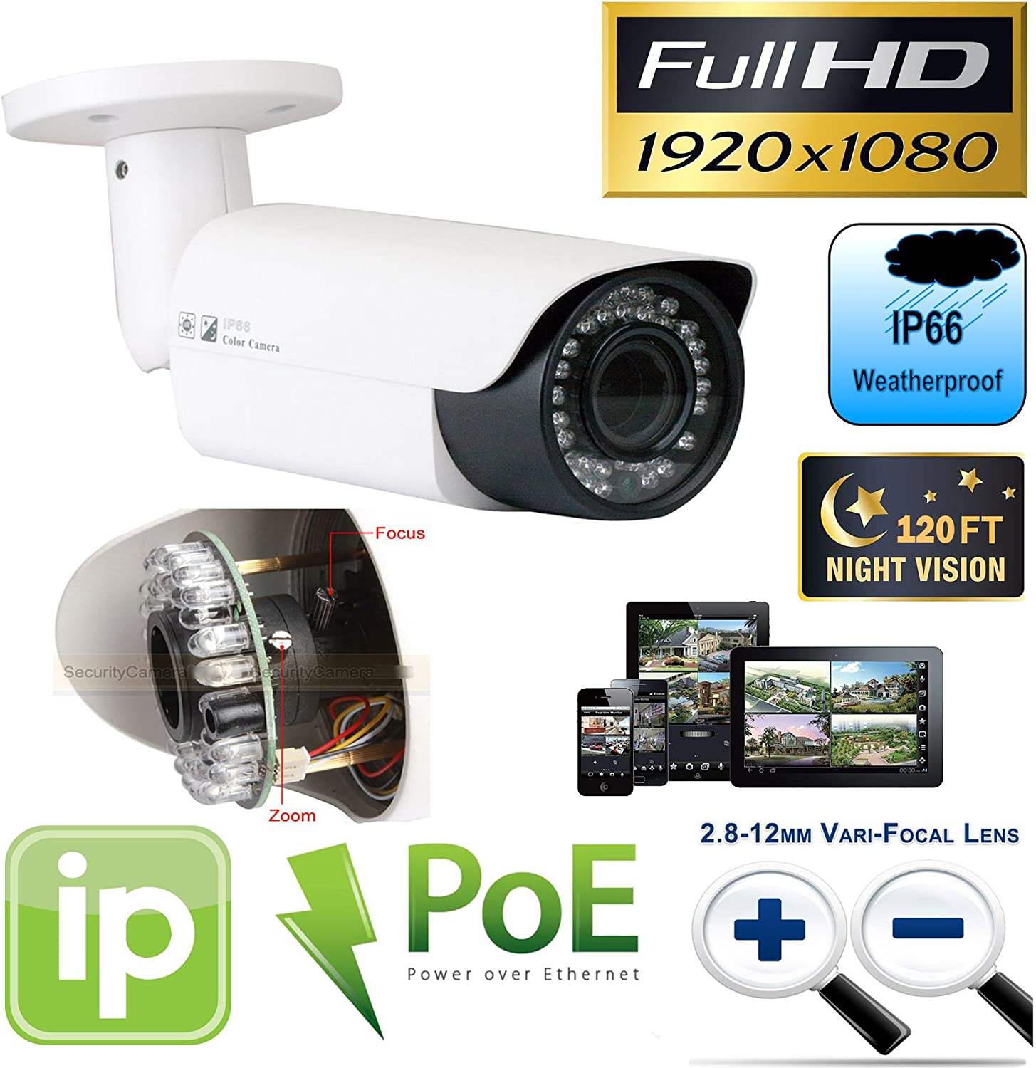 GW Security 32 Channel HD 1920p Security System with 8TB HDD, 31 HD 5MP 1920p 2.8-12mm Varifocal Outdoor Indoor PoE IP Cameras, and 1 20X Zoom 5MP 1920p IP PTZ Camera
