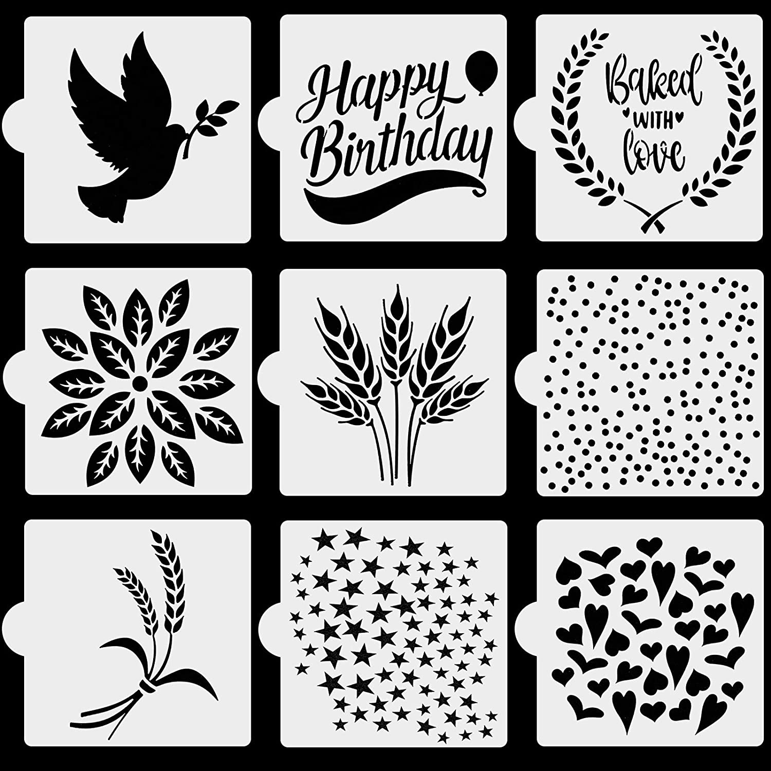 OOTSR 9Pcs Bread Stencils Template, Cookie Cake Baking Stencil Template, Resuable Drawing Paiting Stencils for DIY Craft Food Decorations