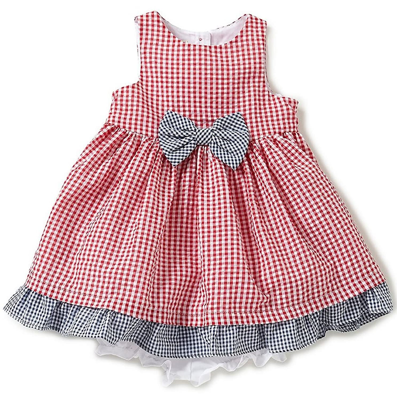 Amazon Marmellata Baby Girls Gingham Seersucker Dress Red