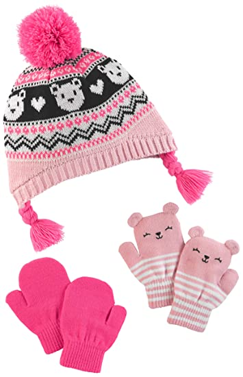 c2c66ce187b Amazon.com  Simple Joys by Carter s Baby and Toddler Girls  Hat and Mitten  Set  Clothing