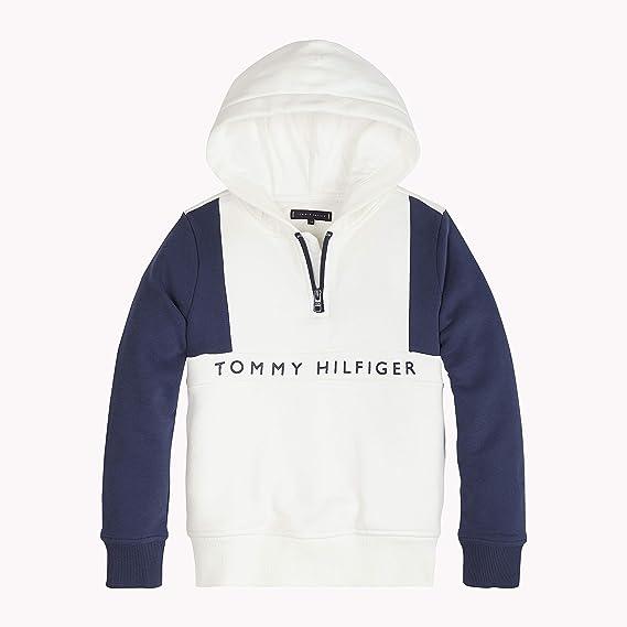 fd6805bbfdb7 Tommy Hilfiger Boy s Tommy Colorblock Hoodie (Bright White Black Iris 123)