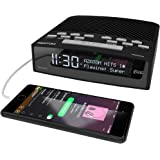AZATOM Horizon DAB Digital Bedside FM Radio Alarm Clock - Bluetooth - Battery - USB Rapid Charge - Mains Powered - Black