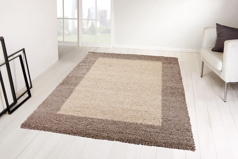 Taracarpet Shaggy Hochflor Langflor Teppich Trend Taupe bordüre 240x340 cm