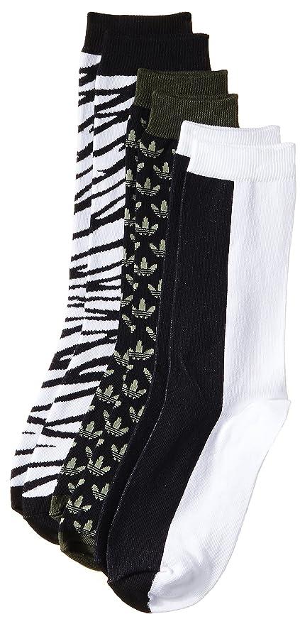 adidas Originals Crew - Calcetines para mujer (3 unidades), color negro y blanco