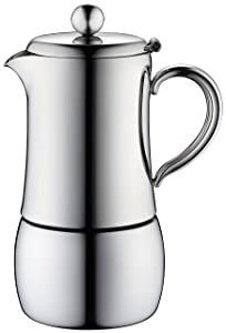 Minos Moka Pot 6-Cup Espresso Maker - Stainless Steel and Heatproof Handle - Sleek, Curvy, Design- Suitable for Gas, Electric and Ceramic Stovetops