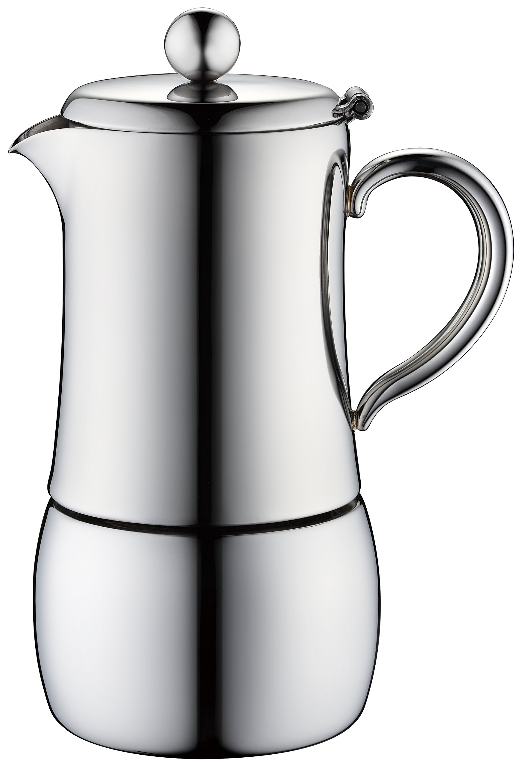 Minos Moka Pot 6-Cup Espresso Maker - Stainless Steel And Heatproof Handle - Sleek, Curvy, Elegant & Stylish Design- Suitable for Gas, Electric And Ceramic Stovetops