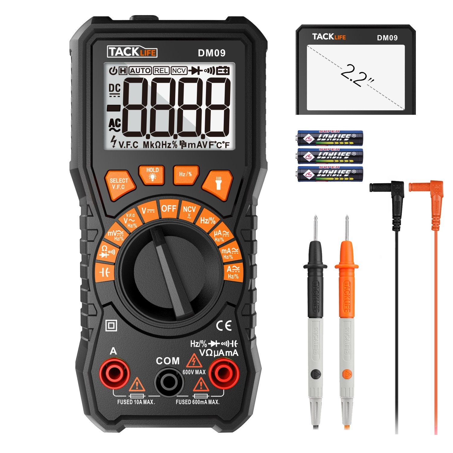 Tacklife Multimeter, 6000 Counts Auto Range TRMS Digital Multimeter with NCV Detection Amp Ohm Volt Multi Meter,Frequency, Resistance, 2.2inch Large LCD   DM09