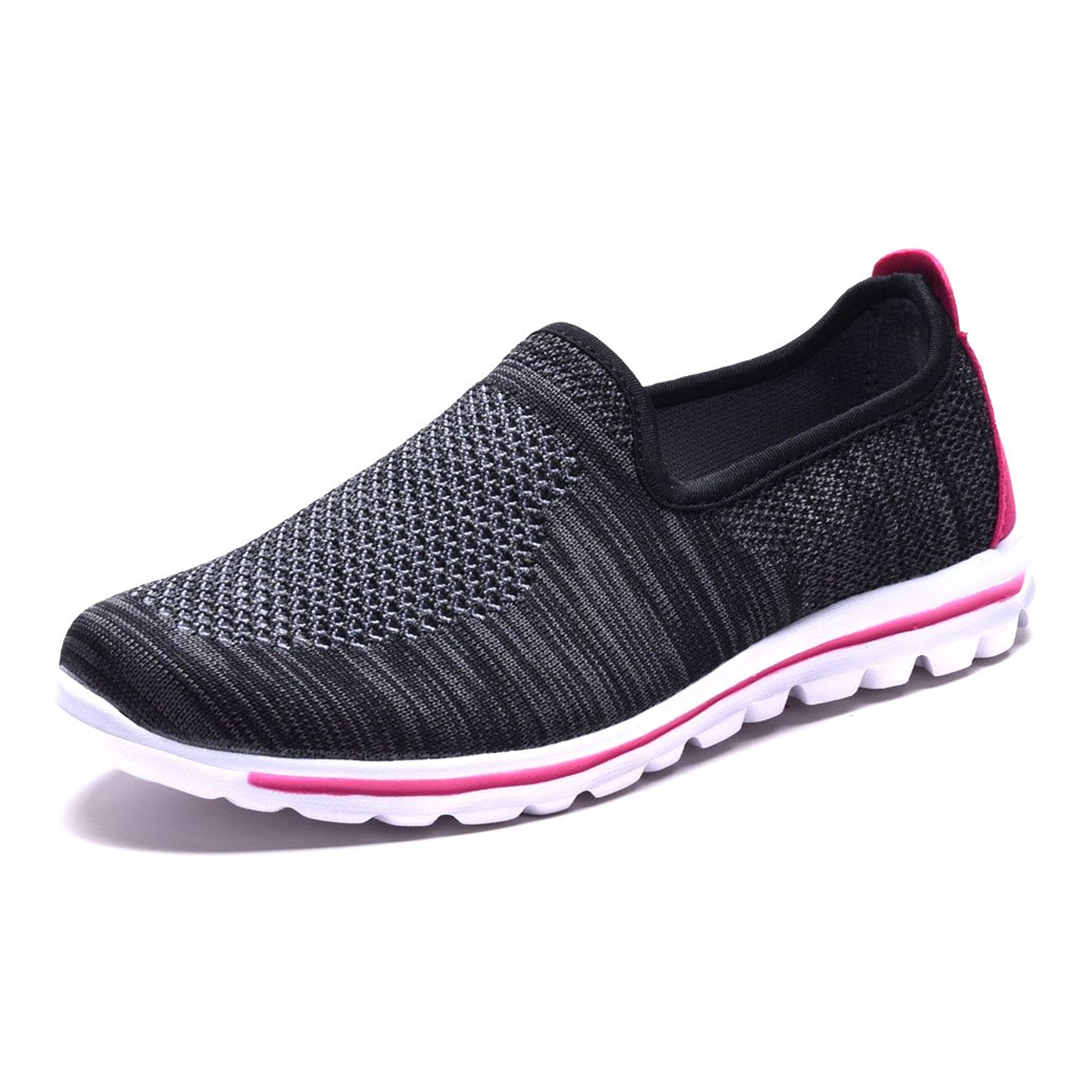 DailyShoes Women's Fit Mesh Slip-on Style Walking Shoes with Memory Foam Insoles- Breathable Mesh - Durable Soles - Reliable Traction - Perfect for Walks and Jogs, Black Fuchsia Mesh, 10 B(M) US