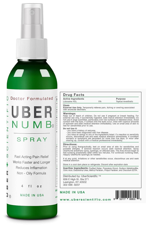 UberNumb Numbing Spray 4 oz, 5% Lidocaine, Made in USA, Rapid Absorption