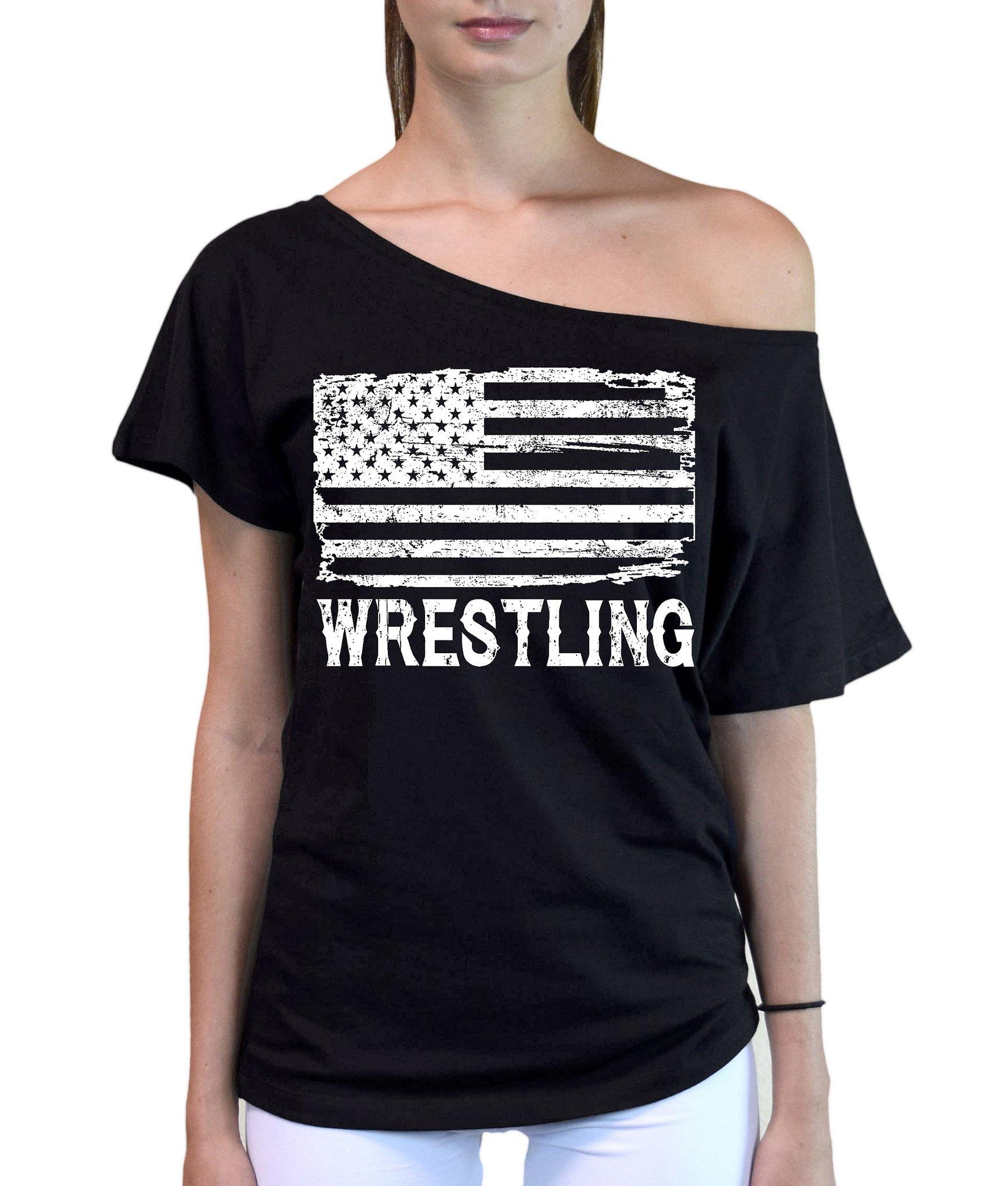 Interstate Apparel Inc Junior's Wrestling American Flag Black Off-Shoulder T-Shirt Small Black