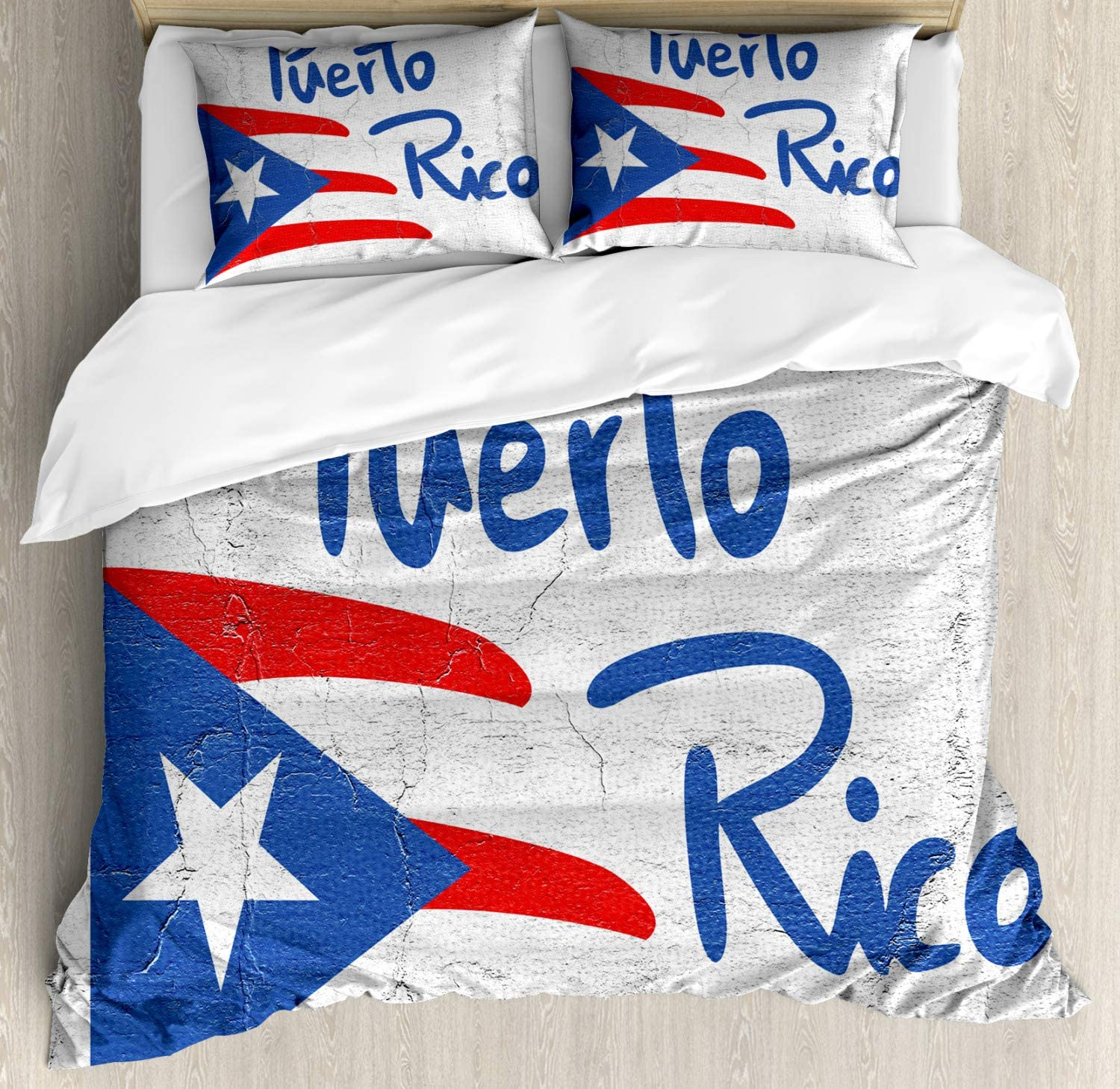 Lunarable Puerto Rico Duvet Cover Set, Hand Drawn Flag and Lettering with Weathered Background, Decorative 3 Piece Bedding Set with 2 Pillow Shams, King Size, Cobalt Blue