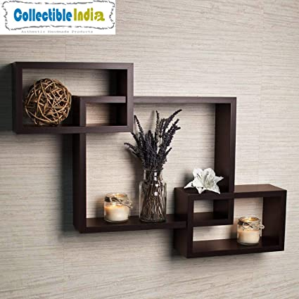 Collectible India Brown Interweave Wall Shelf Shelves Set Of