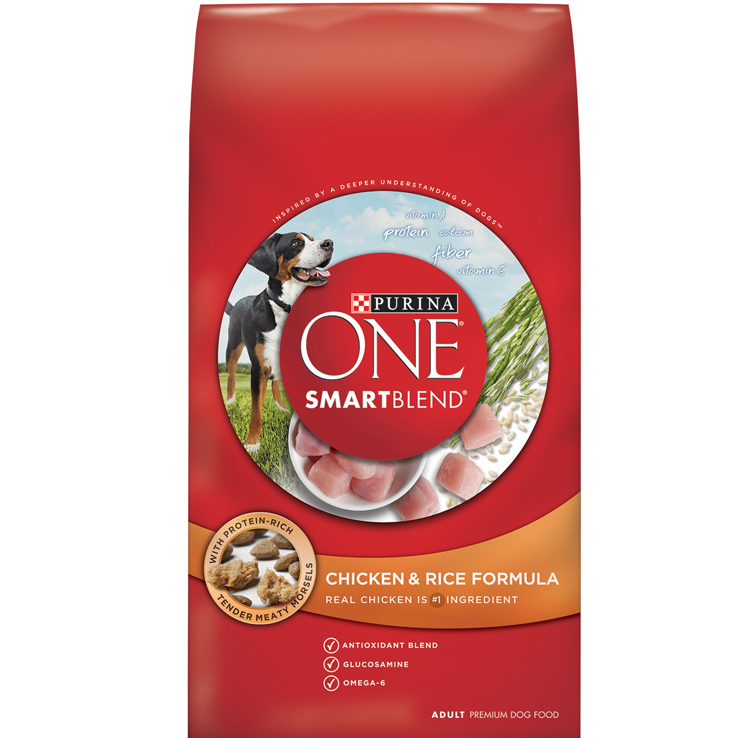 Purina ONE SmartBlend Chicken & Rice Formula Dry Dog Food 4 lb. Bag (Pack of 6)