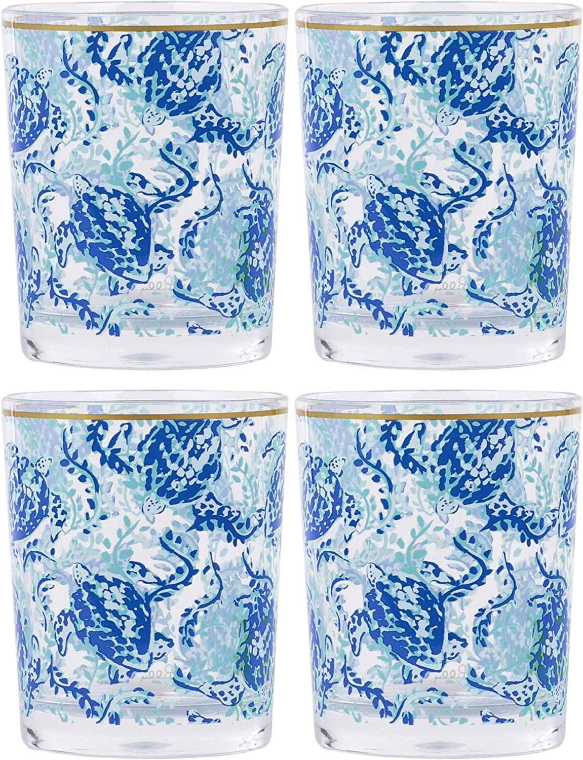Lilly Pulitzer Blue Acrylic Plastic Lo Ball Wine or Cocktail Glass Set of 4, Turtley Awesome