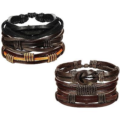 d694dbee9ae8 Sailimue 6 Pcs Pulsera de cuero para hombres Mujeres Cordón ajustable Pulseras  brazalete de joyería trenzada  Amazon.es  Joyería