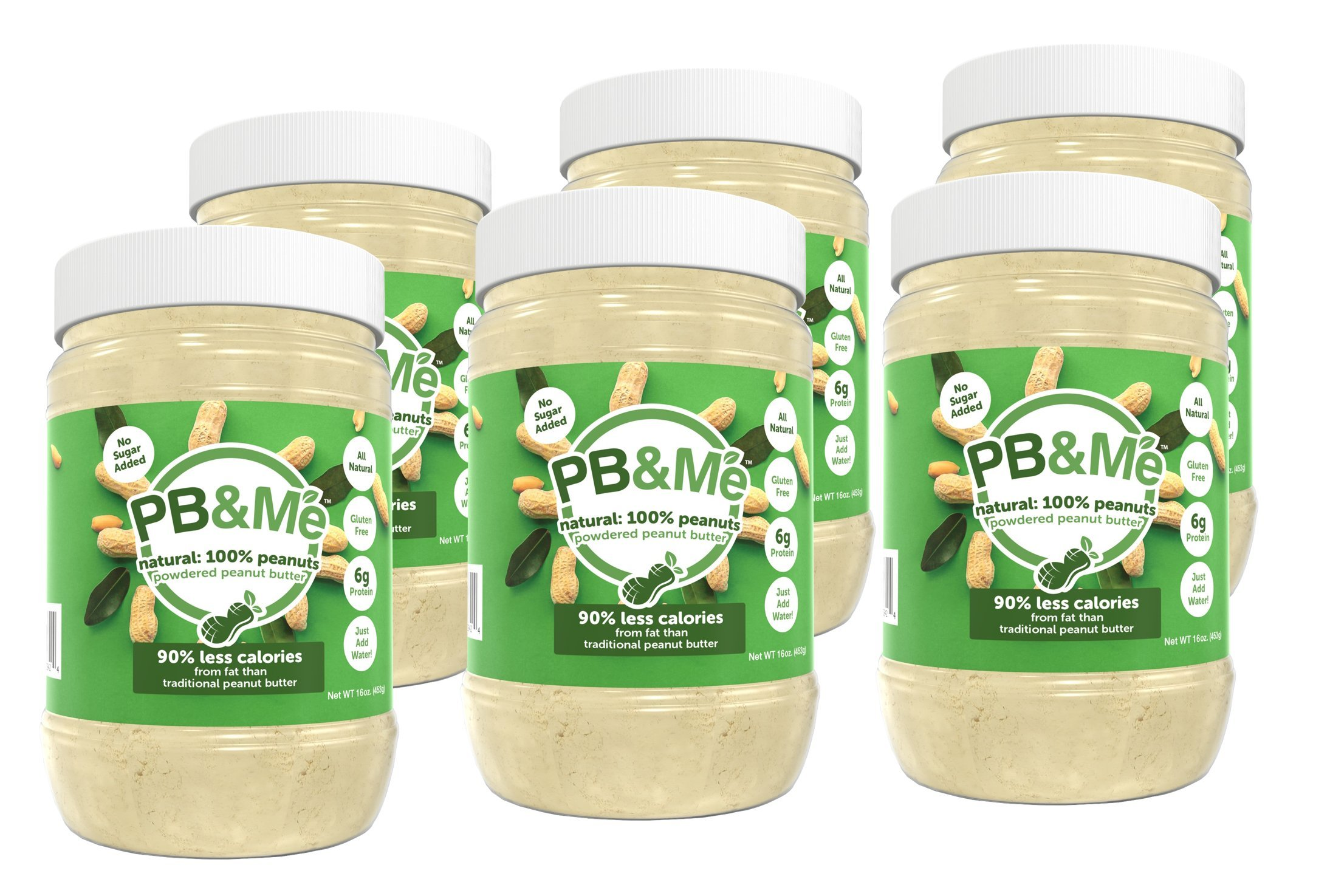 PB&Me Powdered Peanut Butter, Keto Snack, Gluten Free, Plant Protein, No Sugar Added, 16 Ounce, 6 Count by PB&Me