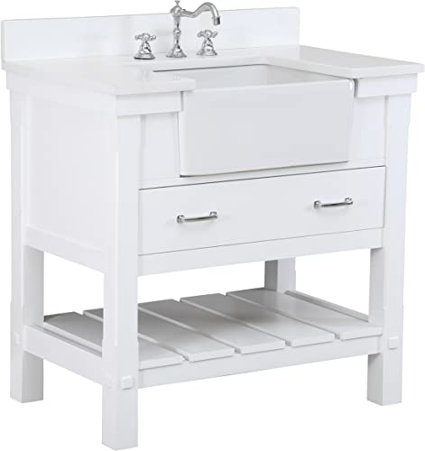 Charlotte 36-inch Bathroom Vanity Quartz White Includes a Quartz Countertop, White Cabinet with Soft Close Drawers, and White Ceramic Farmhouse Apron Sink