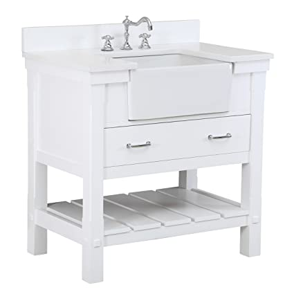 Charlotte 36 Inch Bathroom Vanity Quartz White Includes A White