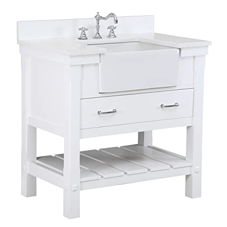 Charlotte 36 Inch Bathroom Vanity (Quartz/White): Includes A White Quartz