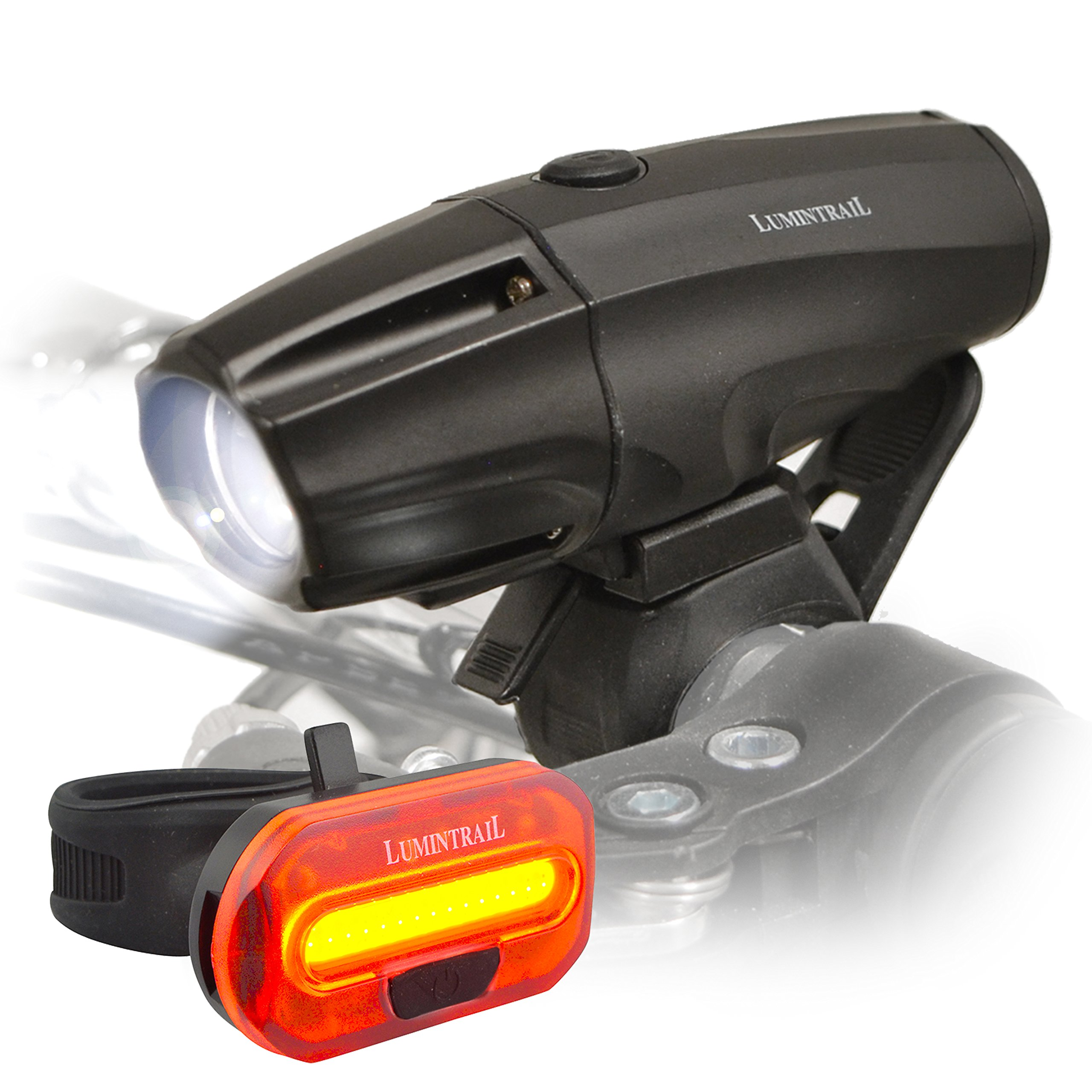 Lumintrail Super Bright USB Rechargeable LED Bike Light Set Headlight Taillight 1000 Lumen Safety Commuter Water Resistant Easy Install & Quick Release by Lumintrail (Image #1)
