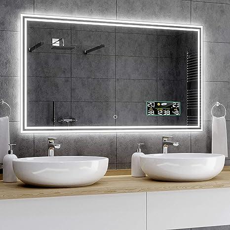 Alasta Badezimmer Spiegel Mit Licht 140x100 Cm Wien Spiegel Mit Touch Lichtschalter Und Wetterstation Modell P3 Amazon De Kuche Haushalt