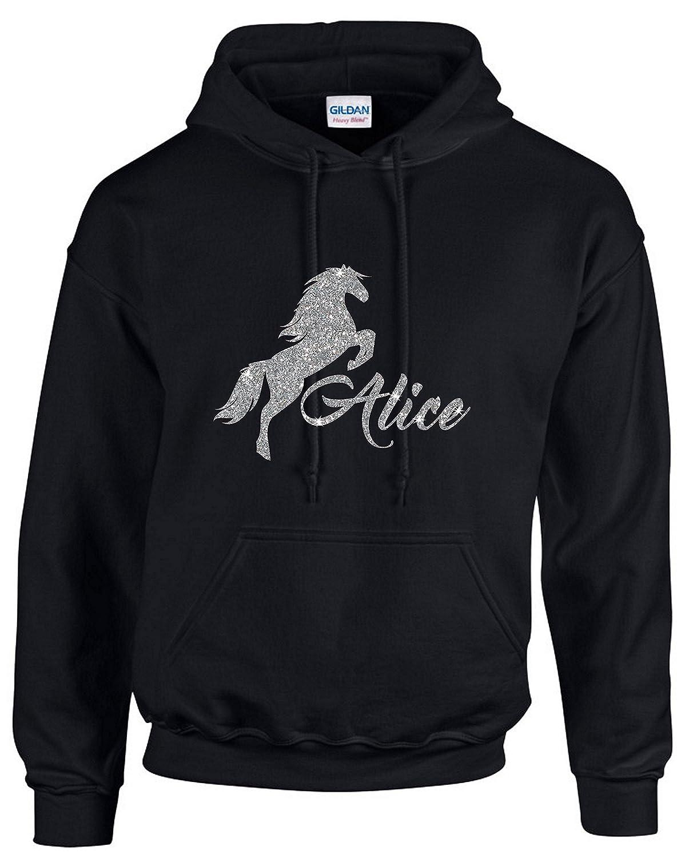 Designs4U Designs.4.u Personalised Silver Glitter Horse Pony ~ Girls Hoodie ~ Sizes 7-15 Years