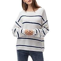Woolen Bloom Jersey Punto Mujer Invierno Jersey Rayas Camiseta Manga Larga Sueter Basico Suelto Jerseys Camisa Tops Pull…
