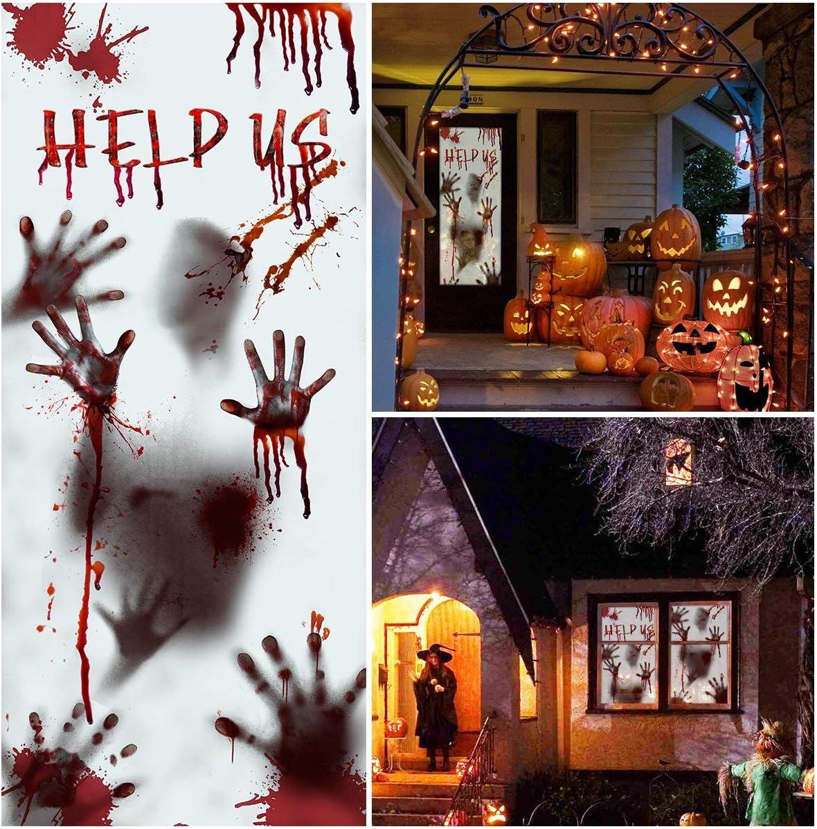 Halloween Door Stickers Halloween Window Door Clings for Halloween Decorations, Scary Bloody Handprint