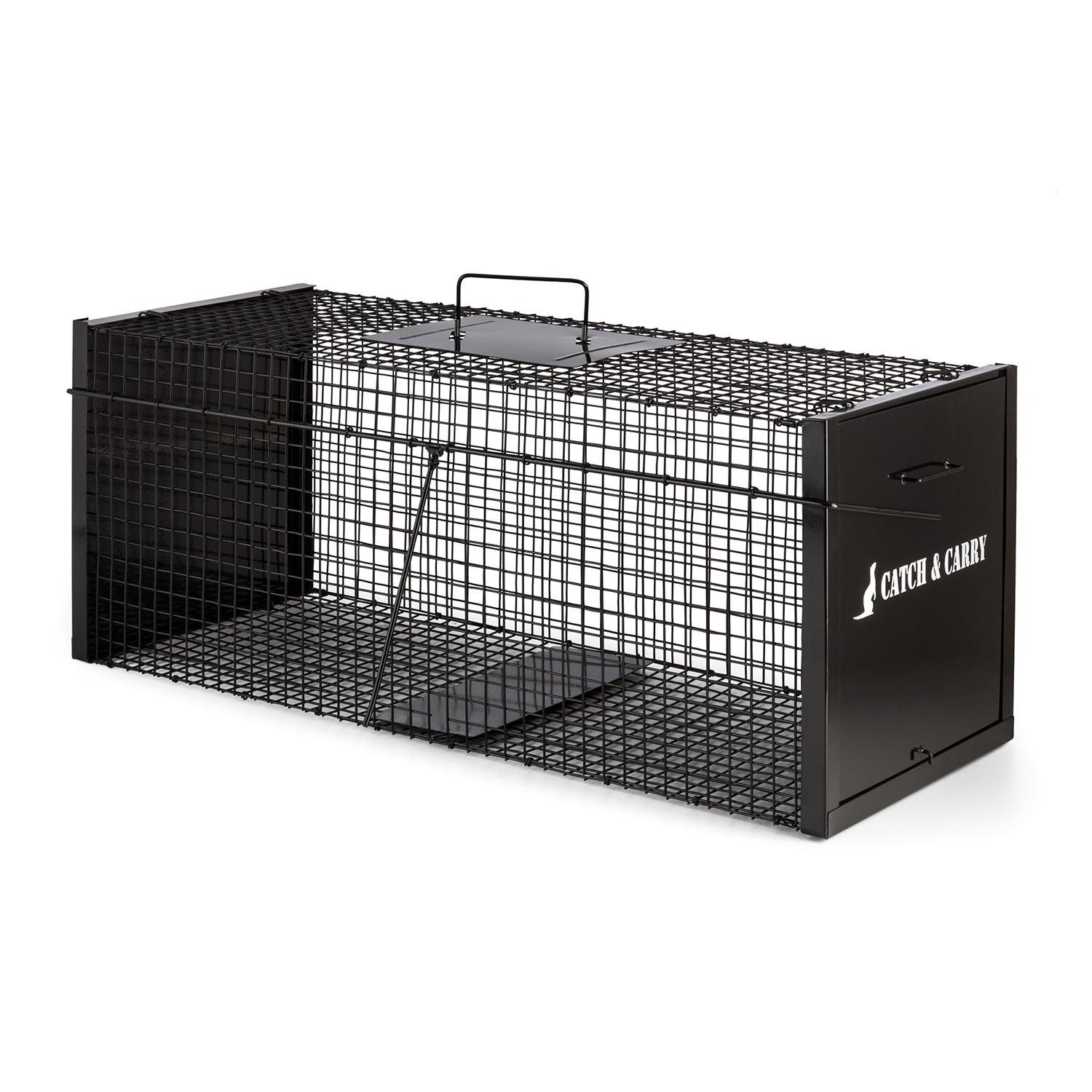 Oneconcept Catch & Carry L Trampa para Animales 31x31x78cm (Jaula Acero 2mm Negro, Captura Animal Vivo, asa Transporte Seguro, Ideal Ratas, Ratones, Zorros, ...