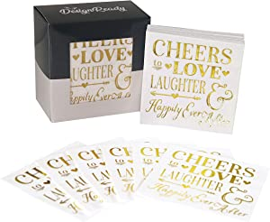 DesignReady Gold Foil Cocktail Napkins, Cheers To Love Laughter and Happily Ever After (100-Pack) | 3-Ply, 5x5 Inches