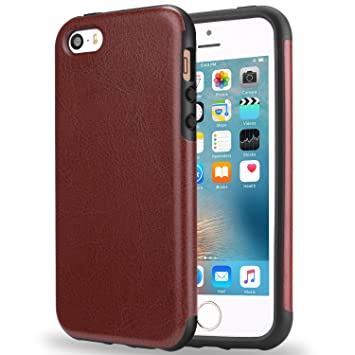TENDLIN Funda iPhone SE Cuero Silicona TPU Híbrido Suave Carcasa para iPhone SE 5S 5, Marrón