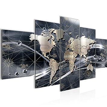 Bilder Weltkarte World Map Wandbild 200 x 100 cm Vlies - Leinwand Bild XXL  Format Wandbilder Wohnzimmer Wohnung Deko Kunstdrucke Grau 5 Teilig - MADE  ...