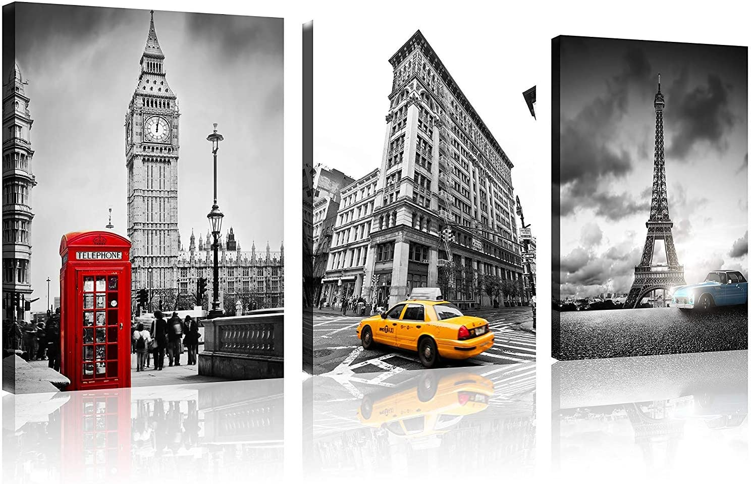 TutuBeer 3 Pcs Black and White with Eiffel Tower Blue Car Paris Canvas Big Ben Red Telephone Booth in London Wall Art Decor New York Yellow Cab 3 Panel Colorful Cityscape Canvas Framed Ready to Hang