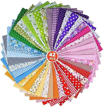ZWOOS Telas para manualidades, 42Pieces 25 x 25 cm Tela de algodón Paquete de tela,Tela Patchwork de Algodon Impresa Llana de Floral pequena Tela del Algodon para Manualidades, Costura, DIY, Azul (42):