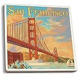 San Francisco, California - Golden Gate Bridge (Set of 4 Ceramic Coasters - Cork-backed, Absorbent)