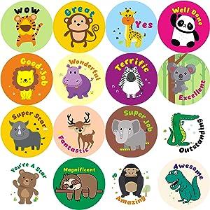 "WATINC Reward Stickers 1000+ Count 1.5"" 63 Sheets for Kids Teacher Kawaii Animals Panda Tiger Classroom Motivational Sticker Encouragement Behavior Stickers Scrapbooking Birthday Gift for Boys Girls"