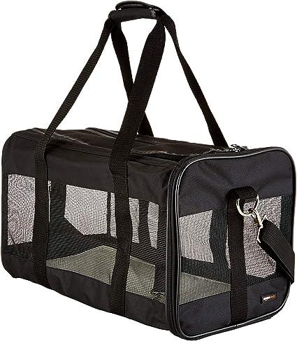 Amazon Com Amazon Basics Soft Sided Mesh Pet Travel Carrier Large 20 X 10 X 11 Inches Black Pet Supplies