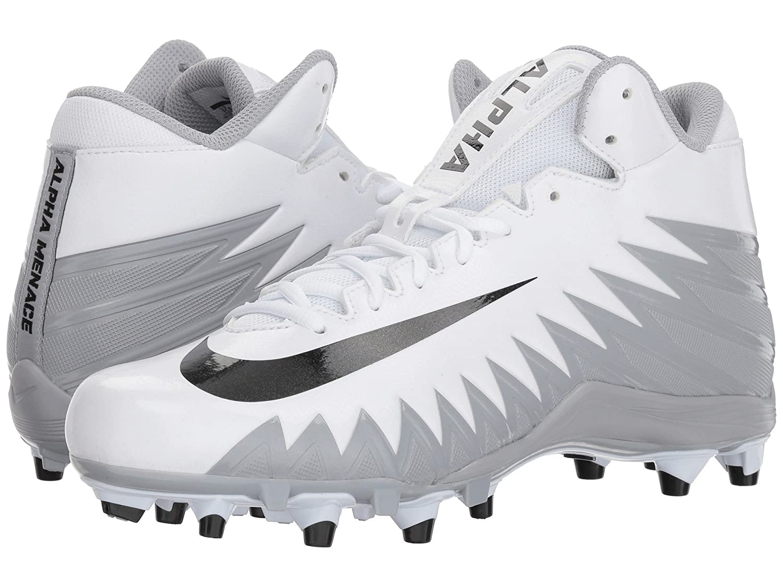 (ナイキ) NIKE メンズフットボールアメフトシューズ靴 Alpha Menace Varsity Mid White/Black/Metallic Silver/Wolf Grey 11.5 (29.5cm) D Medium B07CP154WV