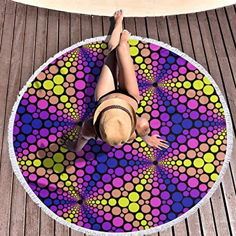 hulil Extra Large Thick Round Beach Towel RR Lens Pumpkin ...