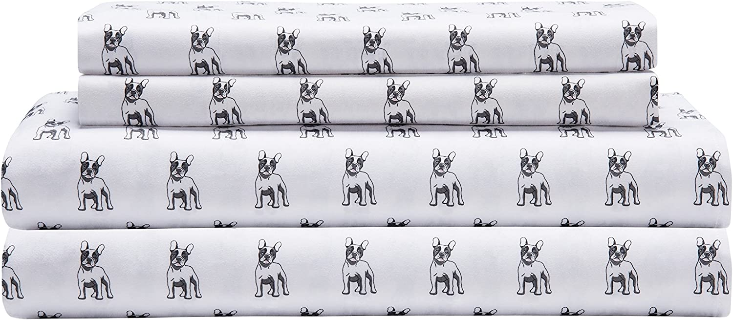 Elite Home Products Microfiber 90 GSM Whimsical Printed Deep-Pocketed Sheet Set, Queen, White Bulldogs