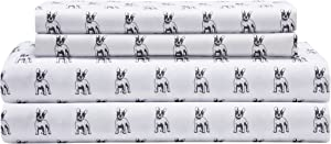 Elite Home Products Microfiber 90 GSM Whimsical Printed Deep-Pocketed Sheet Set, King, White Bulldogs