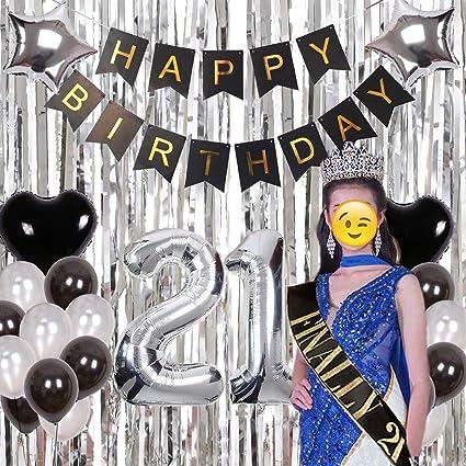 Amazon.com: 21 cumpleaños decoraciones de plata Haimimall ...