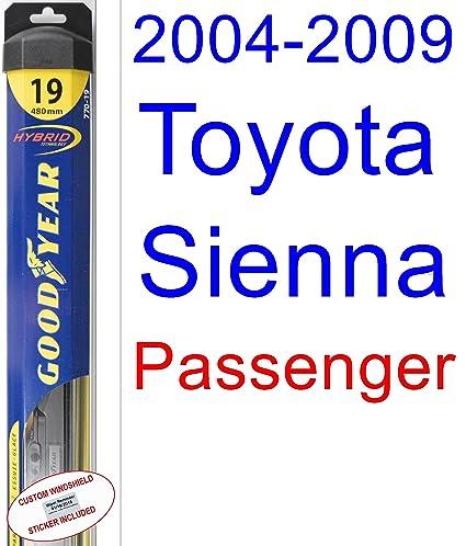 Amazon.com: 2004-2009 Toyota Sienna Replacement Wiper Blade Set/Kit (Set of 2 Blades) (Goodyear Wiper Blades-Hybrid) (2005,2006,2007,2008): Automotive