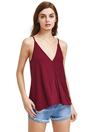 f3ac16d9a8a6b2 Romwe Women s V Neck Strappy Loose T-Shirt Tank Top Vest Blouses Burgundy XS