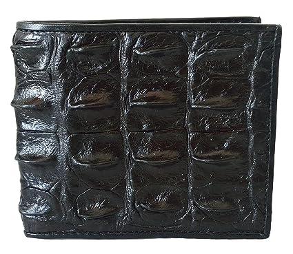 M Bifold Crocodile Tail Leather Wallet