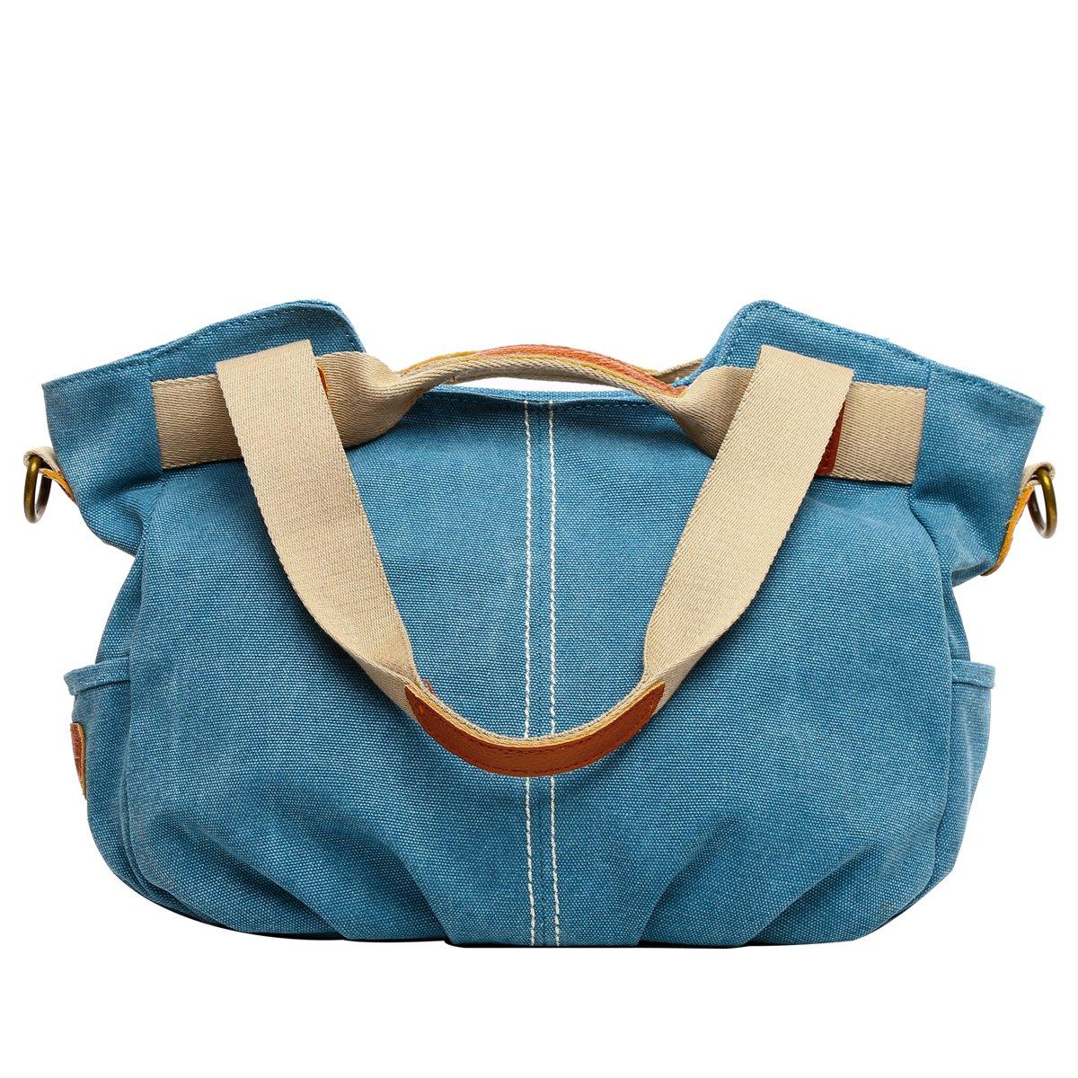 Eshow Women's Canvas bag Top Handle Totes Shoulder Bag Shopping Travel School Cross body Bag for Women Tote handbag Messenger Bag Daily Bag Purse,Blue Eshow-BFK010802