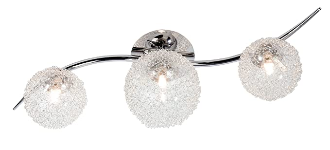 Nino Leuchten 63369306 - Lámpara de techo con bombillas halógenas, de cromo y cristal, 3 bombillas, diámetro 2 x 10 cm + 1 x 12 cm, largo de 60 cm