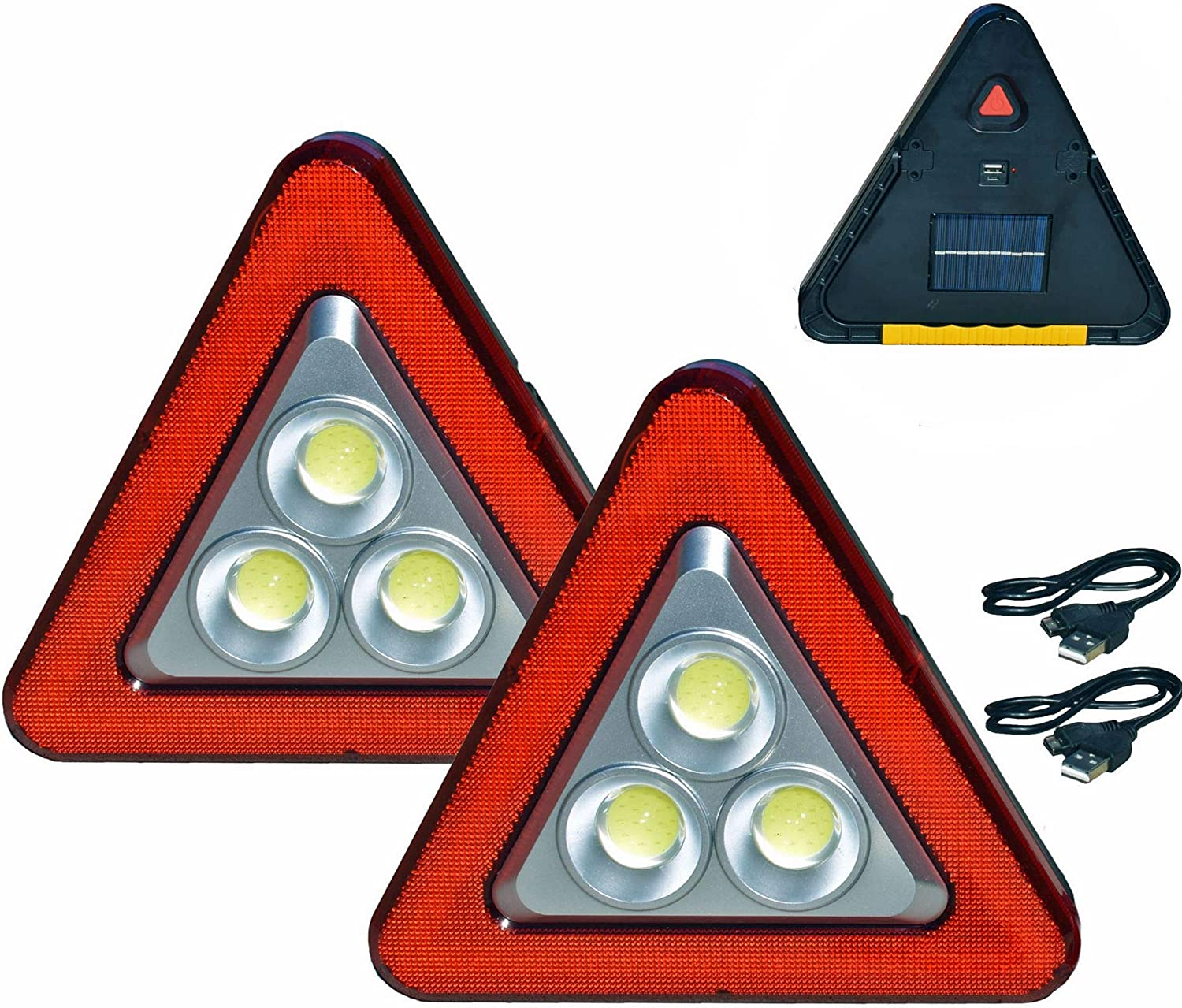 Multifunctional Warning Triangle Vehicle Danger Warning Sign USB Charging LED car Maintenance Work Light Outdoor Camping Fishing Light