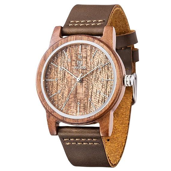 Reloj Madera Hombre, MUJUZE Natural De Madera Del Reloj De Cuero Reloj Único Texturas Regalos De Aniversario(Nogal): BIOSTON: Amazon.es: Relojes