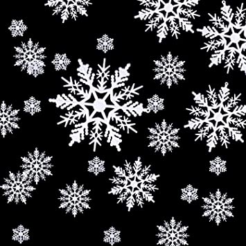 Christmas Snowflakes.Hestya 50 Pieces Plastic White Snowflakes Ornaments For Christmas Decoration Assorted Sizes Style A 1 2 3 4 5 6 Inches